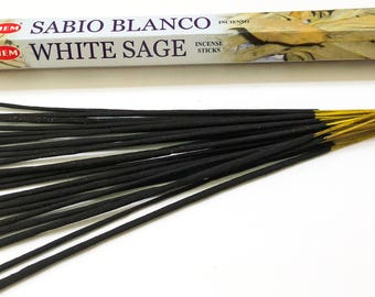 White Sage Incense Sticks handmade for Smudging Aromatherapy Yoga Meditation Negativity Clearing House Cleansing by Hem