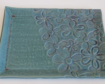 Teal pottery jewelry or serving dish