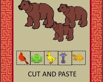 Teaching Materials, Instant Printable, Back to School, Home School, Brown Bear Cut and Paste-Pre-K,K and Special Education, Autism