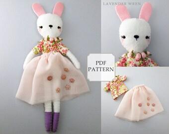 Bunny Sewing Pattern, Plush Bunny Pattern, Stuffed Bunny Pattern, Bunny Sewing PDF, Stuffed Doll PDF, Felt Bunny Pattern, Stuffed Bunny PDF