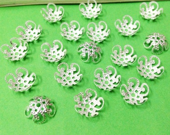 Flower Bead Caps -200pcs Silver Plated Five Lush Flower End Cap Charms 10mm