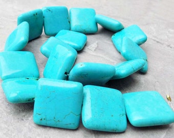 """Turquoise Blue Magnesite Square Beads ~ 25mm ~ 17"""" strand"""