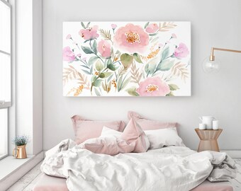Large Stretched Canvas READY TO HANG Gallery Style Canvas Print, Stretched Canvas Art, Archival Canvas Giclée Watercolor Floral Art Print