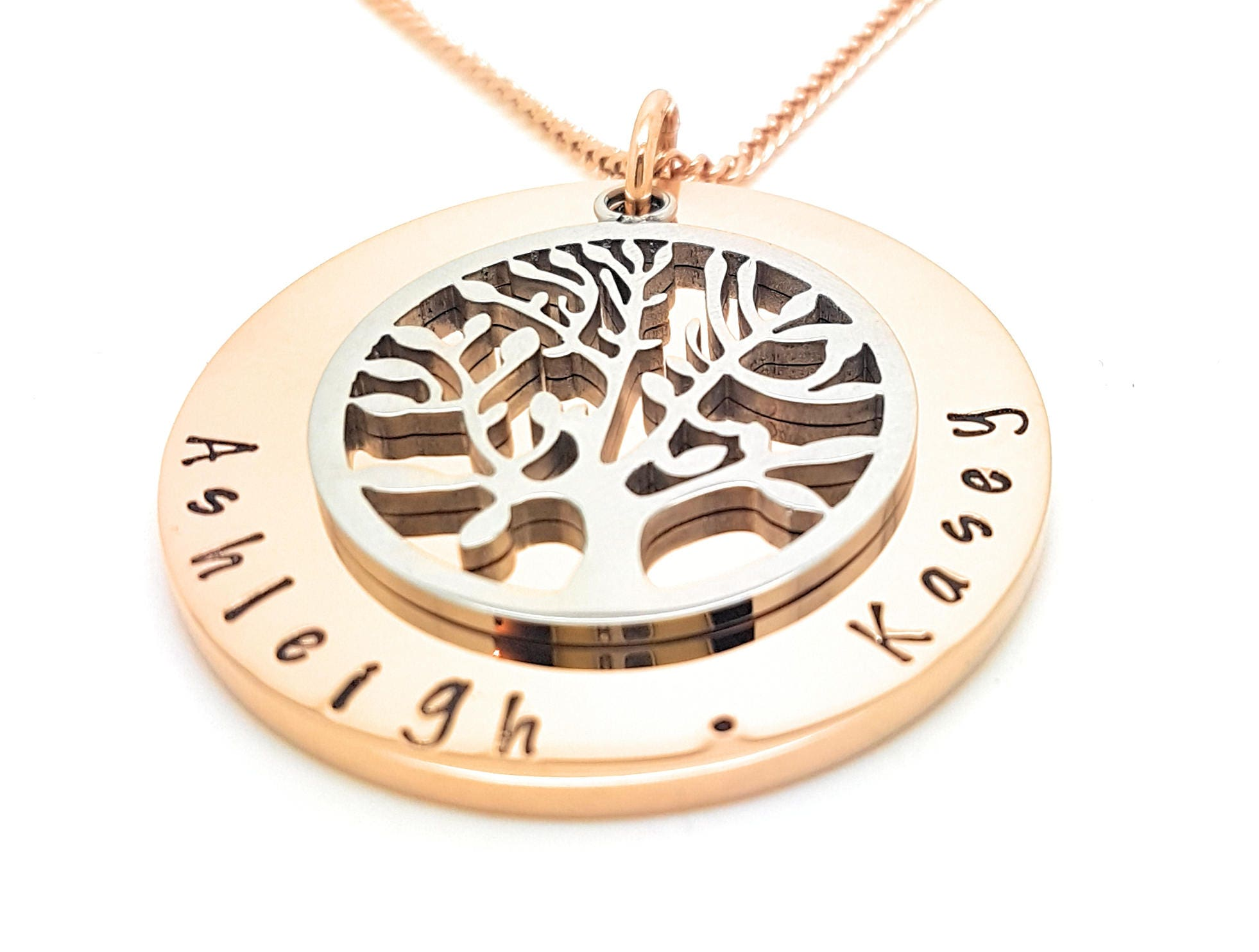 Family names tree of life pendant personalised jewellery hand family names tree of life pendant personalised jewellery hand stamped name necklaces rose gold family name pendants tree of life australia aloadofball Gallery