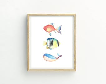 Whale Print | fish print | angel fish | aquatic | marine print | marine wall art | art for bathroom | boys nursery art | whale painting |art