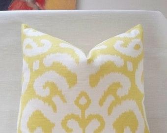 """20"""" Citron Yellow Fergana Ikat Duralee Handmade Pillow Cover Cotton Linen blend"""