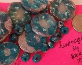 Blue Silver Clay Bead Set