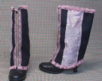 Steampunk Spats Costume Boot  black cotton pink lace    cosplay LARP zipper  leg warmers Geechlark r71