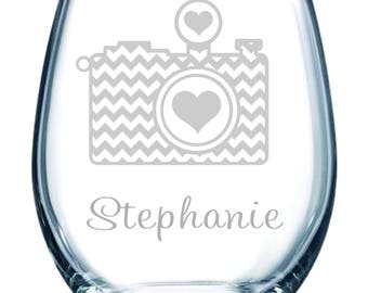 Personalized Camera stemless wine glass with name, 15 oz.