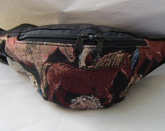 Tapestry Fabric PONIES Equestrian Horse Small Fanny Pack Waist Pack made in USA