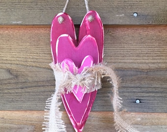 Wooden Heart Stack Wall Hanging