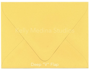 A2 Envelopes for Invitations and Cards, Yellow, Pack of 25, Great for Note Cards Deep V Flap