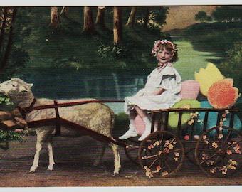 Vintage Easter Postcard, Lamb Pulling Girl in Easter Egg Wagon, ca 1910