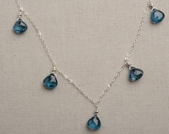 London Blue Topaz Necklace, Healing Gemstone Jewelry, December Birthstone Necklace, Deep Blue Gemstone Necklace