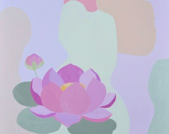 Abstract painting, abstract acrylic painting, floral painting, lotus painting 'Inspire'