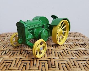 Vintage John Deere Toy Tractor Die Cast Steel Heavy Metal Display Collectible, Farming Equipment Machinery