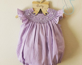 Lavender Gingham Smocked Bows & Pearls Bubble