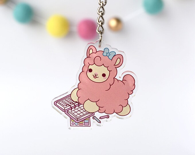 Featured listing image: Kawaii Planner Llama Alpaca Nugget Acrylic Charm Keychain