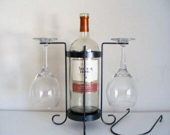 2-Glass single bottle tabletop wine holder