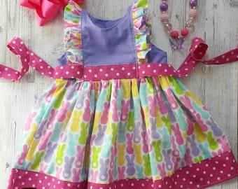 Girls Easter dress. Easter sunday dress. Flutter dress.Bunny dress. Easter outfit.