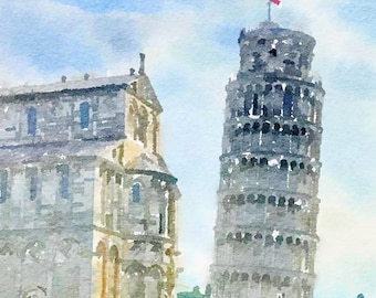 Pisa Italy Original Watercolor Brush Illustration Painting