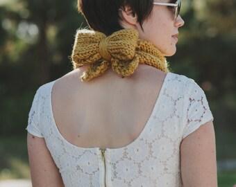 Knitting PATTERN PDF Kerchief Cowl Bow Chunky Scarf Shawl