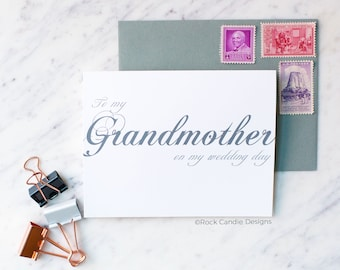 To My Grandmother On My Wedding Day Card | Card for Grandma | Card from Bride to Grandmother | Sweet Card for Grandmother on Wedding Day