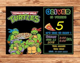 Ninja Turtles Invitation, Ninja Turtles Party, TMNT invitation, Teenage Mutant Ninja Turtle invitations, TMNT Birthday Invitation