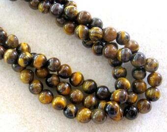 Tiger Eye, Gemstone Beads, Full Strand, Bead Supplies, Craft Supplies, Jewelry Supplies, Semi Precious, Jewelry Making Beads, Design,  6mm