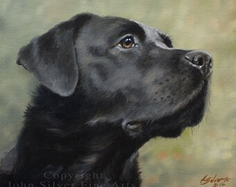 Custom Pet Portrait Head & Shoulders Dog Oil Painting by award winning UK artist John Silver. 12 x 10 inches