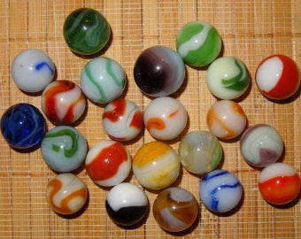 Lot of 22 Vintage Marbles / Game Marbles / Glass Marbles / Toy Marbles / Marble Lots / Lot #379