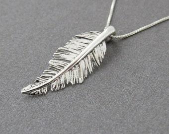 Pendant Necklace, Silver Leaf Necklace, Silver Leaf Pendant, Silver pendant necklace, Silver Feather Pendant, Delicate Necklace, gift
