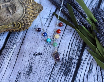 7 Chakra and Crystal pendant necklace