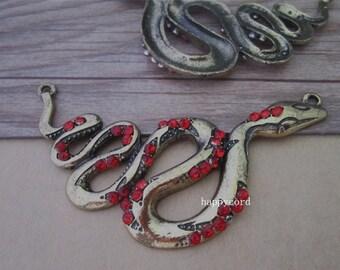 4pcs Antique bronze snake pendant charm 31mmx76mm