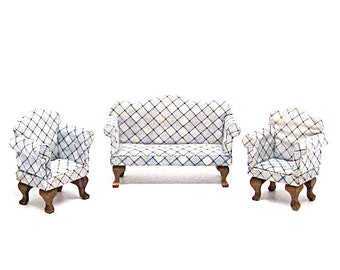 Dollhouse, Settee and Chairs, Couch, Loveseat, Wood, Vintage, Miniature, 1:12 Scale, Toys, Doll Furniture, Queen Anne, Upholstered