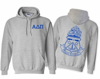 Alpha Delta Pi World Famous Crest Hooded Sweatshirt - Royal Blue Print