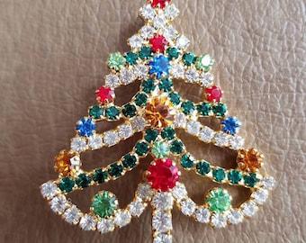 Vintage Christmas Tree Rhinestone and Gold Tone Metal Brooch Pin
