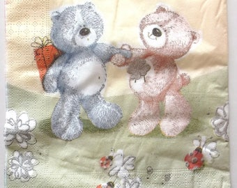 20 napkins - teddy bears and LADYBUGS REF.   3775