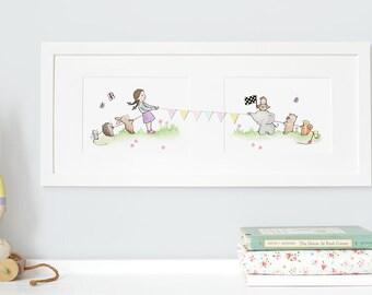 FRAMED Girl's Nursery Art, Watercolour Print, Pastel, Whimsical, Girl's Illustration, New Baby, Animals, Landscape Art, Framed, Long Picture