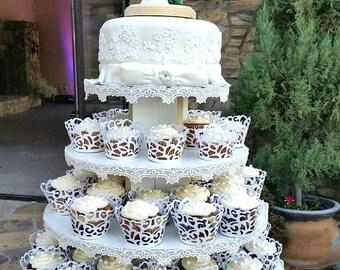 Merveilleux Cupcake Stand 5 Tier Round White Melamine Cupcake Tower Display Stand  Birthday Stand Wedding Stand Donut