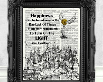 Harry Potter Print Happiness can be found Quote HARRY POTTER GIFT Dumbledore Harry Potter Art Print Best friend Gift Harry Potter Art  145