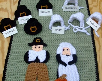 CROCHET PATTERN - CV059 Thanksgiving Pilgrim Table Runner - PDF Download