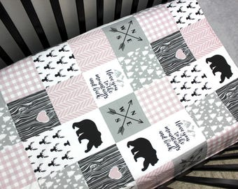 Pink Grey Baby Girl Bedding, Baby Girl Crib Quilt, Woodland Baby Quilt