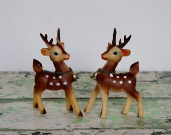 Vintage Japan Rubber Reindeer Plastic Reindeer Holiday Decor Set of 2