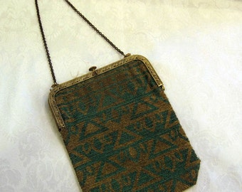 Antique French Micro Bead Handbag / 20s Beaded Purse / Egyptian Revival Micro Bead Flapper Purse