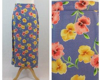 80s 90s vintage maxi skirt. Hawaiian floral print skirt. Blue maxi skirt. Summer spring skirt. Size M.