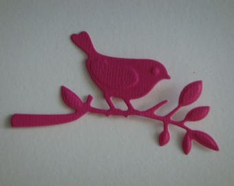 Cut Bird on a branch in paper fuchsia