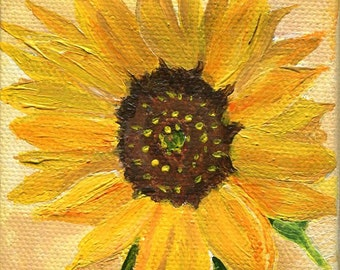 Sunflower original acrylic painting, Sunflower mini canvas art, Sunflower painting, sunflower art, sunflower decor, Mini Easel,