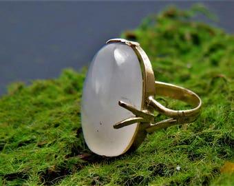 Art Nouveau Victorian 14k Gold Rose Quartz Ring Size 5