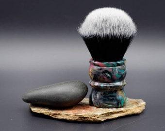 Shaving Brush - Abalone Resin Lathe-Turned Handle with Synthetic Tuxedo Knot